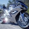 Silver Mirrored Sport Bike